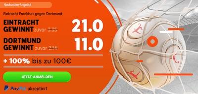 888sport erhöht für Frankfurt-BVB die Quoten
