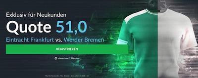 Quote 51.0 auf Eintracht besiegt Werder bei BetVictor