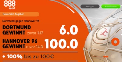888sport mit verbesserten Quoten zu Dortmund-Hannover