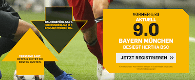 Hertha BSC Berlin vs. Bayern München Betfair Quotenboost
