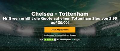 Mr Green Odds Boost zu Chelsea-Tottenham