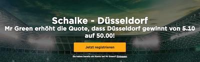 Mr Green: Quote 50.0 auf Düsseldorf besiegt Schalke nach 90 Minuten