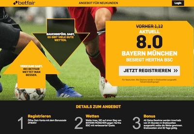 Betfair: Verbesserte Quote auf Bayern-Sieg gegen Hertha