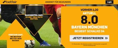 Bayern-Schalke bei Betfair: 8er-Quote auf den FCB