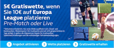 Europa League Freebet Promo bei William Hill