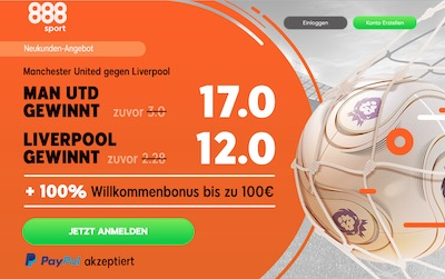 Manchester United vs. Liverpool Quotenboost bei 888sport