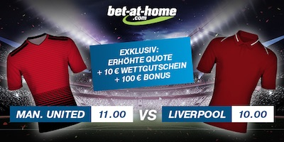 Bet-at-Home Quotenboost zu Manchester United vs. Liverpool