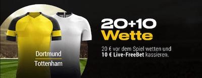 Bwin Aktion zu Dortmund-Tottenham: 20€ setzen, 10€ erhalten.