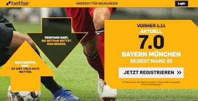 7.0! Top Quote auf Bayern schlägt Mainz bei Betfair