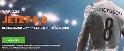 Betsson WM Quali erhöhte Qoute Deutschland