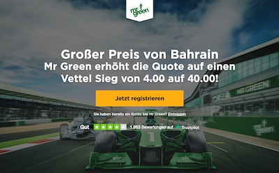 Mr Green erhöht die Quote auf Vettel beim Bahrain GP