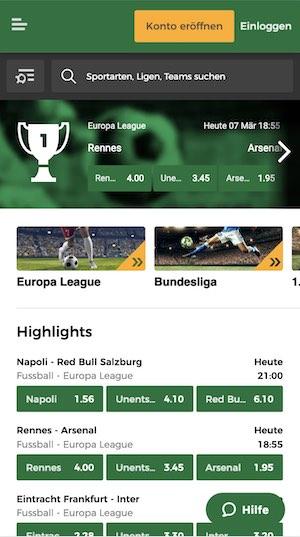 Mr Green Sportwetten App Screenshot