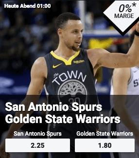 100%-iger Quotenschlüssel bei Betano zu Spurs-Warriors