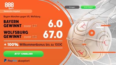 Bayern vs. Wolfsburg Quotenboost bei 888sport