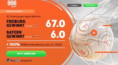 SC Freiburg gegen FC Bayern 888sport Quotenboost