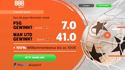 888sport Quotenboost zu Paris Saint-Germain gegen Manchester United