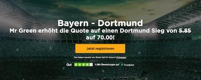 BVB besiegt Bayern? Quote 70.0 auf Mr. Green!