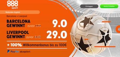888sport. 9.0 auf Barcelona, 29.0 auf Liverpool