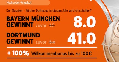 Turbo Quoten bei 888sport zu Bayern-BVB