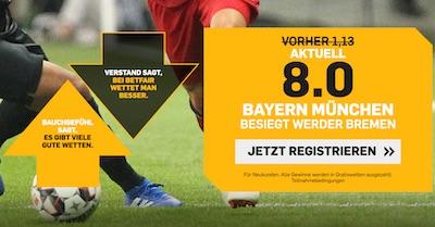 Betfair Quotenboost für Bayern vs Bremen