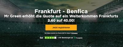 Frankfurt steigt auf? Quote 40.0 bei Mr Green