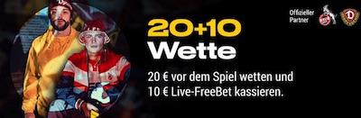 Dresden-Köln: 20+10 Aktion von Bwin