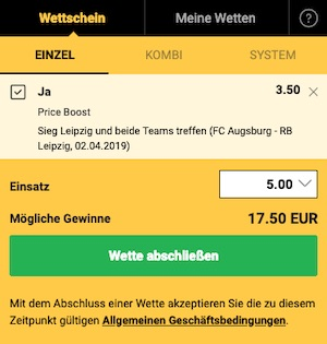 Bwin Price Boost zu Leipzig - Augsburg