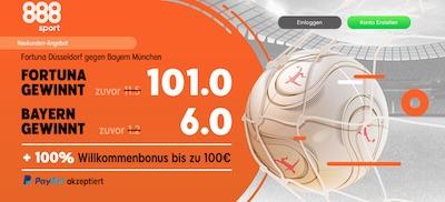 Fortuna Düsseldorf vs. Bayern München Quotenboost bei 888sport