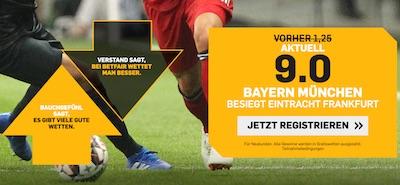 Betfair erhöhte Quote Bayern besiegt Frankfurt