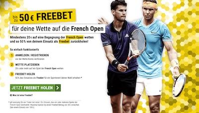 Cashpoint Freebet zu den French Open