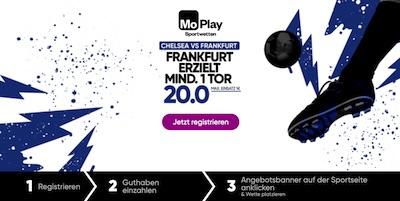MoPlay: Quote 20.0 auf Frankfurt erzielt ein Tor vs. Chelsea