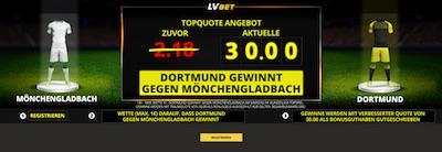 Gladbach-Dortmund: LVbet erhöht die Quote auf den BVB