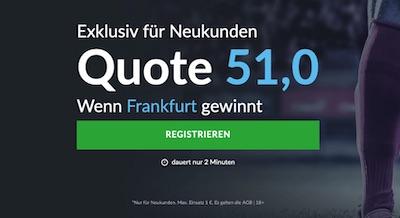 Quote 51.0 auf Frankfurt gewinnt an der Stamford Bridge (BetVictor)