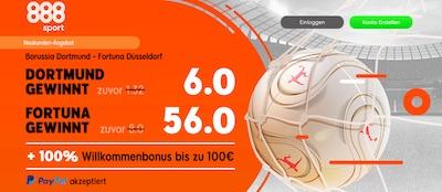 BVB vs. Fortuna Düsseldorf Quotenboost bei 888sport