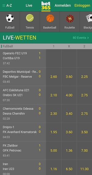 Bet365 Livewetten Screenshot