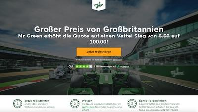 Silverstone Mr. Green erhöht Quote für Vettel-Sieg