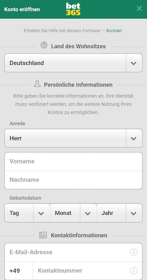 Screenshot Bet365 Registrierung
