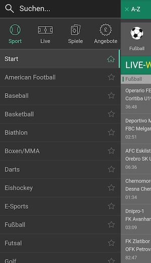 Bet365 Wettprogramm Screenshot