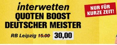 Interwetten Quotenboost RB Leipzig deutscher Meister
