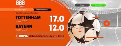 888sport Tottenham Hotspur Bayern München Quotenboost