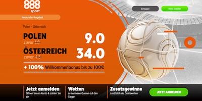 Enhanced odds zu Polen-Österreich bei 888sport
