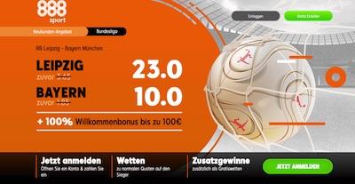 23.0 auf Leipzig, 10.0 auf Bayern - 888sport Quoten Aktion