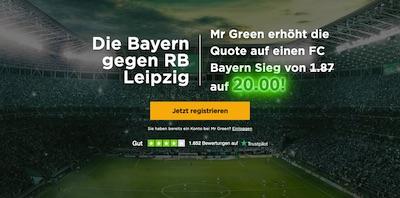 Quote 20.0 bei Mr Green wenn Bayern in Leipzig gewinnt