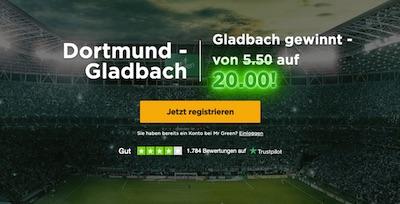 Mr Green: 20.0 auf Gladbach gewinnt gegen Dortmund (Pokal)