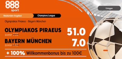 888sport mit enhanced odds zu Piräus vs Bayern