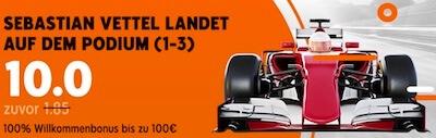 888sport mit Quotenboost auf Vettel in Brasilien unter Top 3