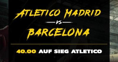 Energybet: Wette jetzt mit Quote 40.0 auf Atletico schlägt Barca