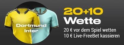 Bwin mit 20+10 Aktion für BVB gegen Inter