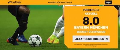 Betfair Bayern Olympiakos erhöhte Quote wetten