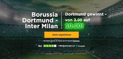 Mr Green Echtgeldboost: 10.0 auf Dortmund schlägt Inter